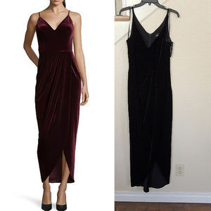XSCAPE Black Spaghetti Strap Velvet Formal Gown